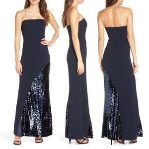 Eliza J Strapless Sequin Dress Navy 12 NWT